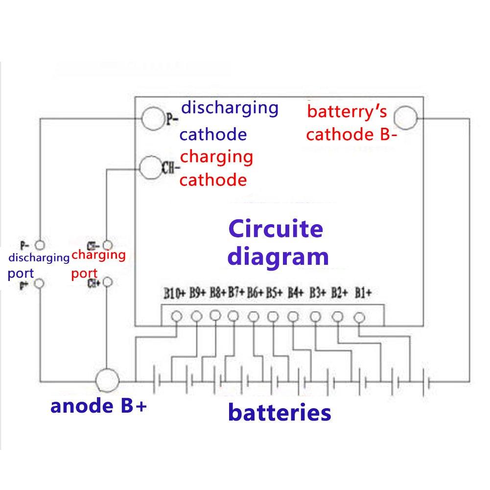 Placa de protecci/ón de la bater/ía 10S 36V 40A Bater/ía de i/ón de litio M/ódulo de protecci/ón del cargador Placa de protecci/ón para bater/ías de /ácido cobalto ternario con balance BMS PCB