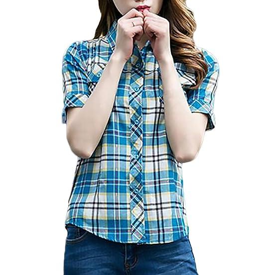 Camisetas Mujer Verano Elegante Casual Slim Fit A Cuadros Splice Blusas Manga Corta De Solapa con
