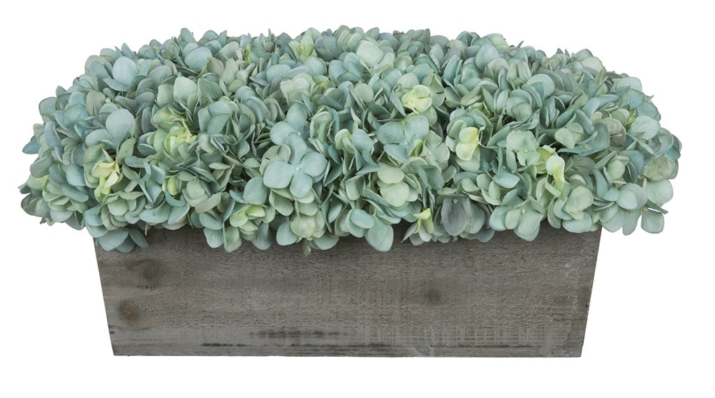 House of Silk Flowers Artificial Hydrangeas in Grey-Washed Wood Ledge (Teal)