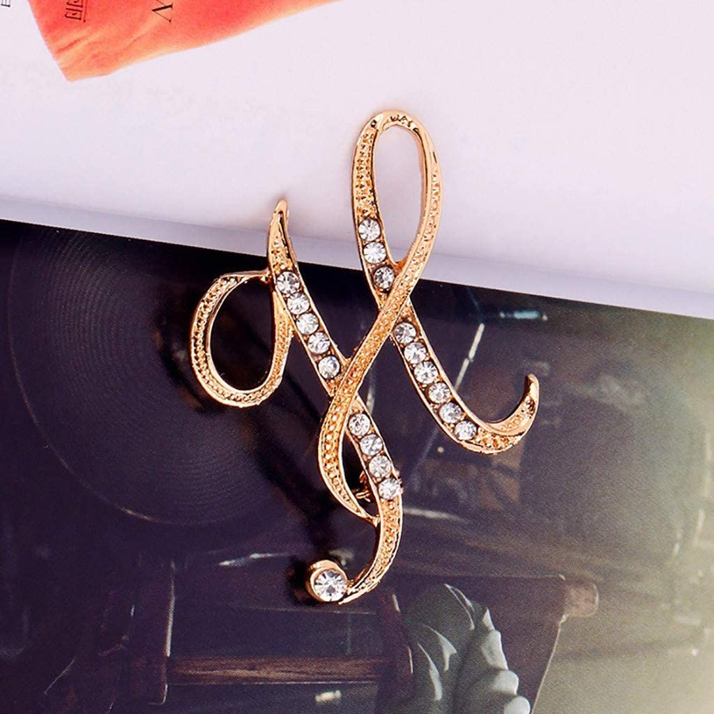 Shimigy 1PC Crystal 26 English Letters Brooch Pin Couple Memorial Jewelry Love Gift for Women