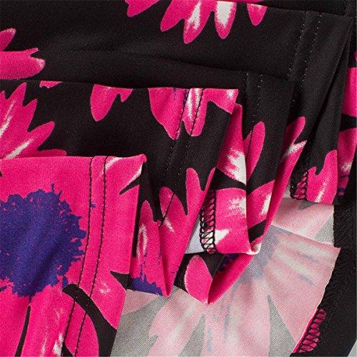 Allonly Femmes 3 4 Manches Col V Wrap Taille Cravate Robe À Fleurs Maxi Longue Noir