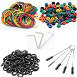 Tattoo Machine Parts - CINRA 100 Tattoo Silicone O-rings, 100 Rubber Bands, 100 Multi-Colored Tattoo Grommets, 5 Cleaning Brushes,3 Tattoo Wrench Part Hexagon Adjuster Set