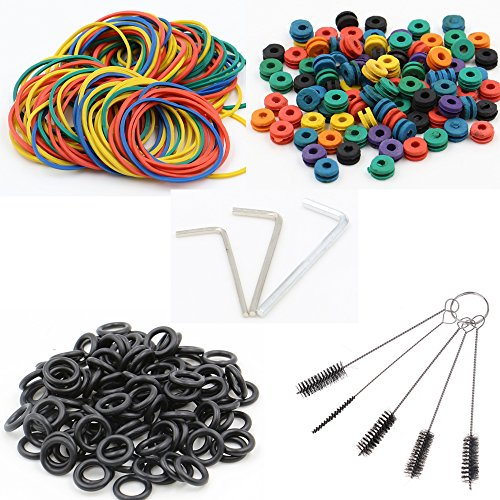 Tattoo Machine Parts - CINRA 100 Tattoo Silicone O-rings, 100 Rubber Bands, 100 Multi-Colored Tattoo Grommets, 5 Cleaning Brushes,3 Tattoo Wrench Part Hexagon Adjuster Set - Rubber Cleaning Brush