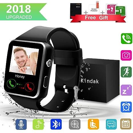 Smartwatch, Impermeable Reloj inteligente con Sim Tarjeta Camara Whatsapp, Bluetooth Tactil Telefono Smart Watch