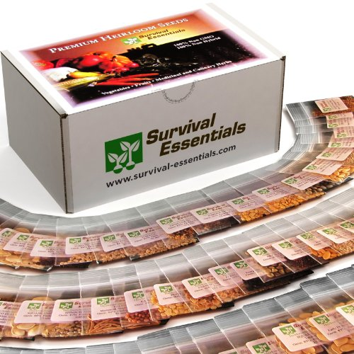 Survival Essentials 100 Variety Premium Heirloom Non Hybrid Non GMO Seed Bank - 17,880+ Seeds - All In One Super Value Pak...Veggies, Fruits, Medicinal/Culinary Herbs - Plus FREE Microgreens Kit. ()