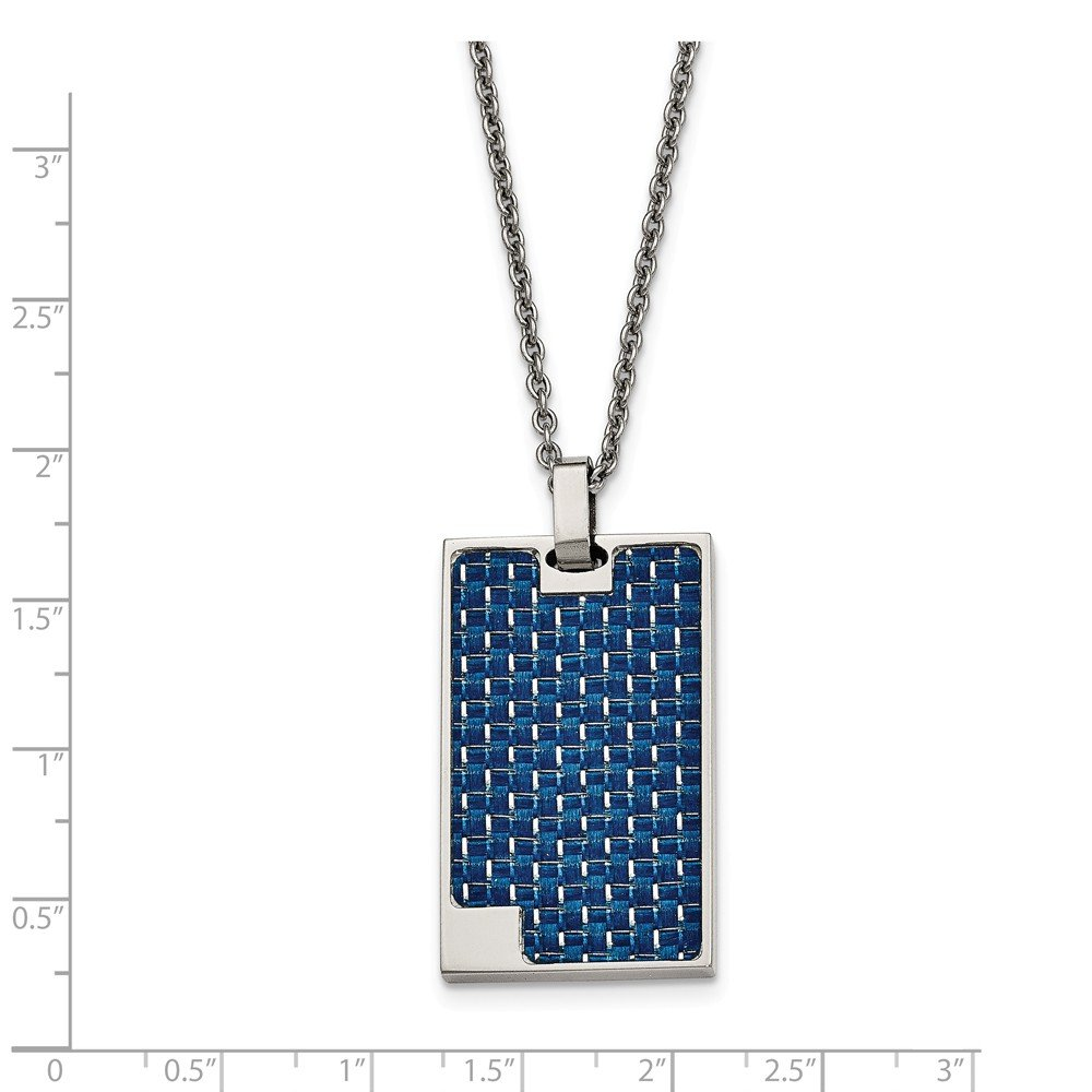 Stainless Steel Polished Blue Carbon Fiber Inlay Dog Tag Necklace 44x22mm 22 Inches