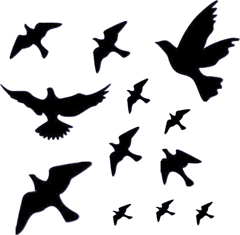 Muttfy Anti-Collision Window Alert Pegatinas de pájaros para evitar golpes de pájaros en la puerta de vidrio de la ventana (juego de 12 siluetas negras): Amazon.es: Hogar