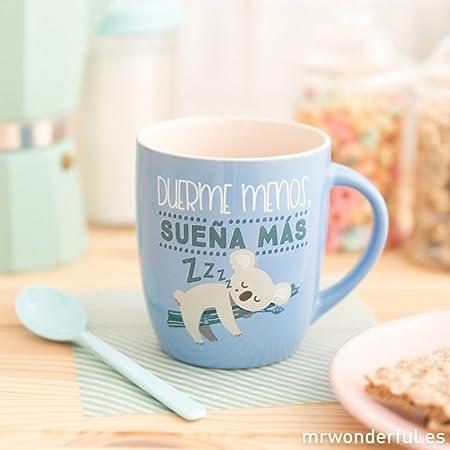 Mr. Wonderful WOA08718ES Taza Pastel Duerme Menos, sueña más, Compuesto, Multicolor, 14.2x15.6x8 cm: Amazon.es: Hogar