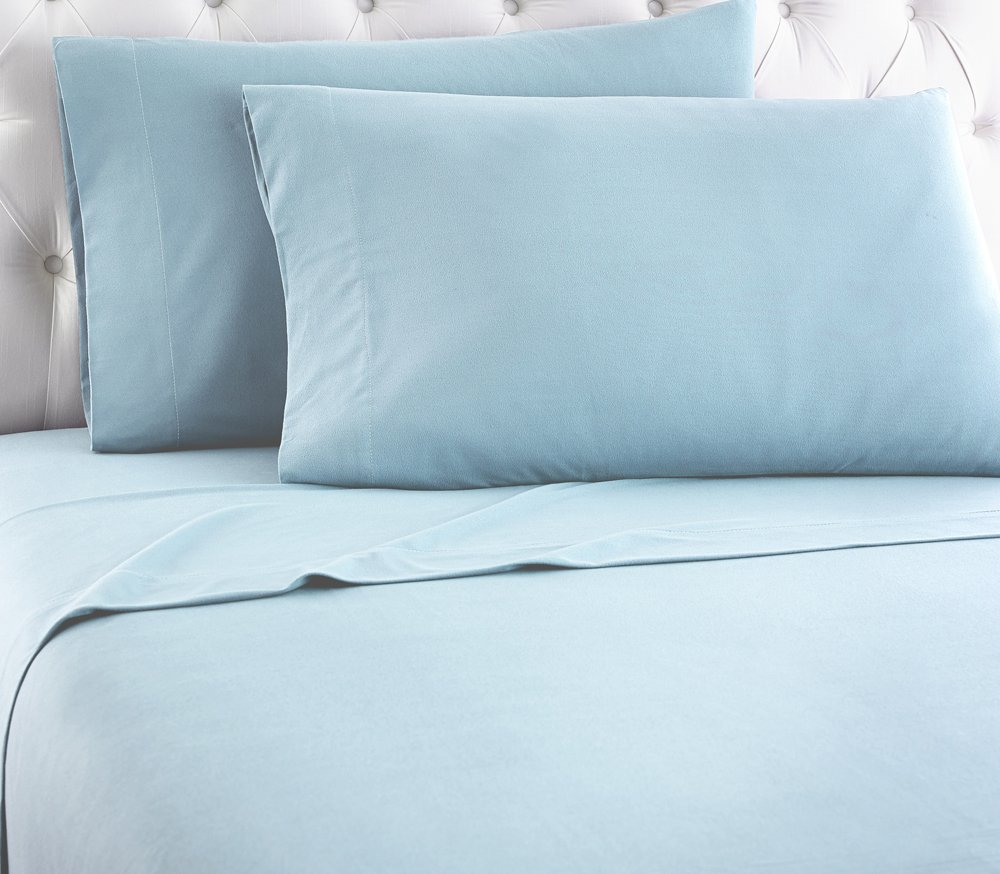 Shavel Home Products Micro Flannel Sheet Set, Twin, Spa Blue