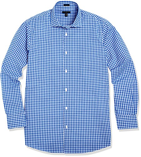 """Crafted Collar Men's Classic Fit Spread Collar Casual Shirt 16"""" Neck 33"""" Sleeve Blue Gingham"""