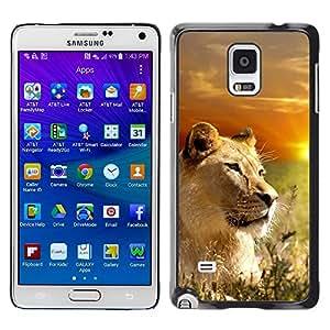 Stuss Case / Funda Carcasa protectora - Lion Nature Savannah Africa Sunset Sun - Samsung Galaxy Note 4 SM-N910