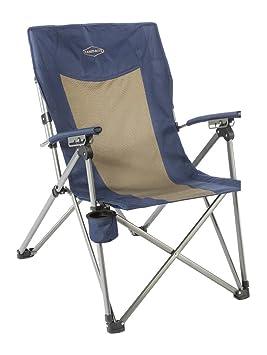 Kamp-Rite 3 Posición duro/brazo reclinable silla con portavasos, azul/marrón: Amazon.es: Deportes y aire libre