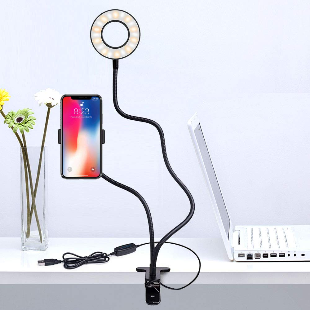 L0WKI Ring Light with Stand for Live Stream-Makeup-Chat,Cell Phone Tripod[3 Light Modes][10 Level Brightness] with Wireless Remote Controller Ring Light for iPhone and Android
