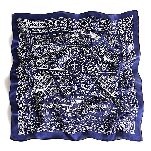 Silk Scarf Small Square For Women, Jeelow 100% Silk Small Scarves For Hair Neckerchief (Navy Forest) (Sleeping With A Scarf In Your Hair)