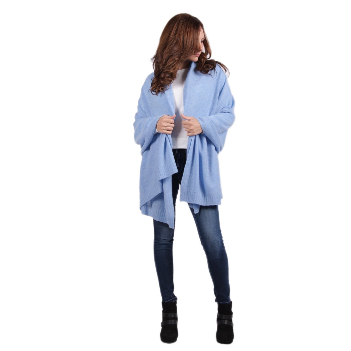 100% Cashmere Wrap ''Adena'' Classic Luxury Azure Blue 72''x36'' Wrap