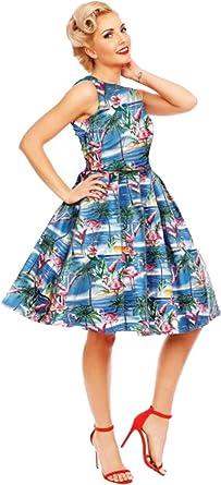 a5fc525713a7 Dolly and Dotty Damen Kleid Annie Flamingo Palm Swing Dress Blau XS