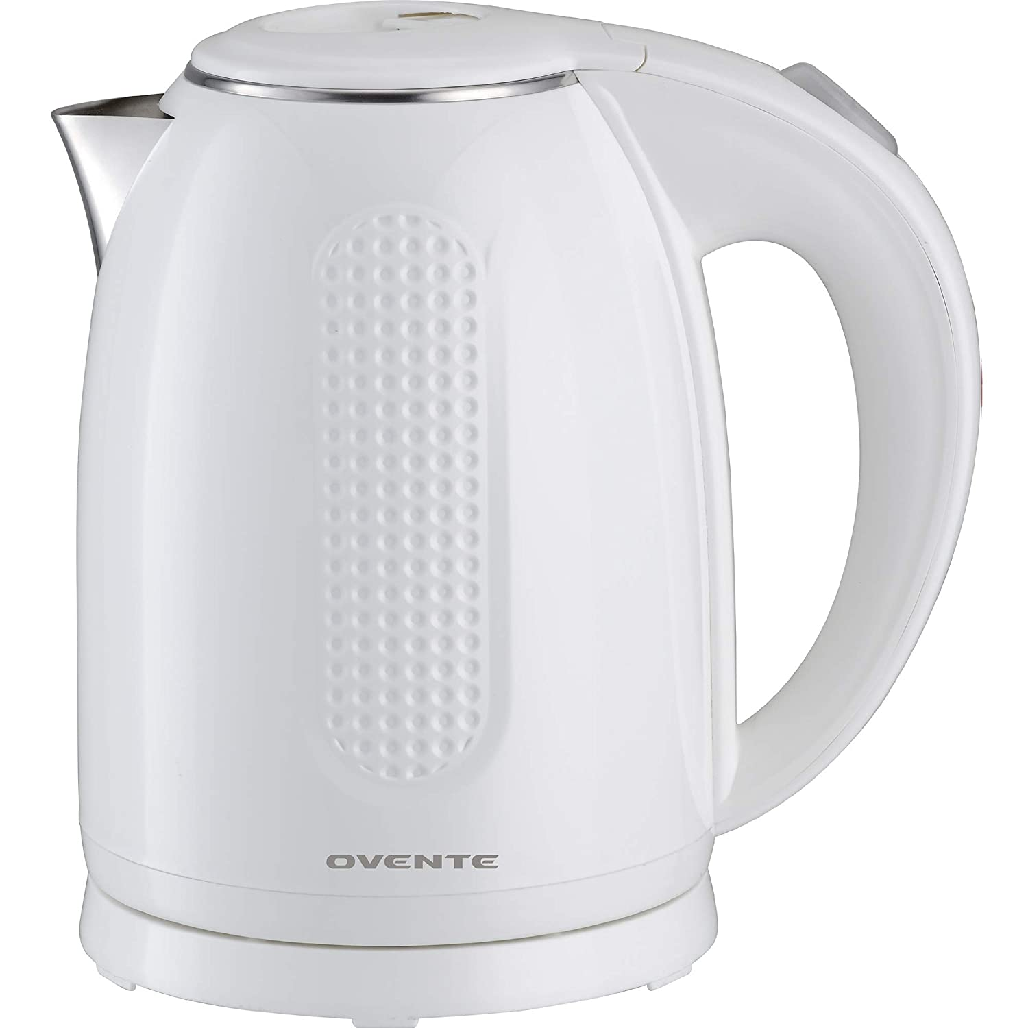 Ovente 1.7L Electric Kettle, Double Wall 304 Stainless Steel Water Boiler, Auto Shut-Off and Boil-Dry Protection, Stay-Cool Exterior, BPA-Free, Cordless, Black (KD640B) (White)