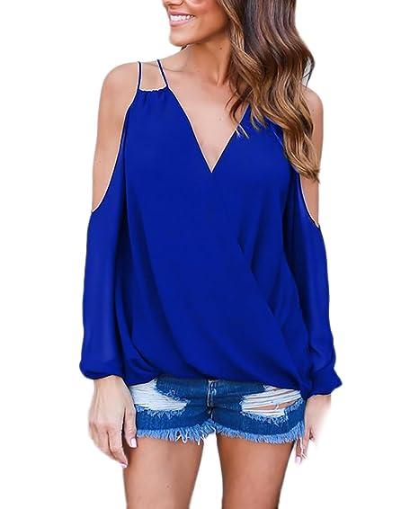 Blusas Mujer Chiffon Camisas Elegante Shirts Anchas Moda Fashionista Primavera Casuales Cómodo V Cuello Sin Tirantes