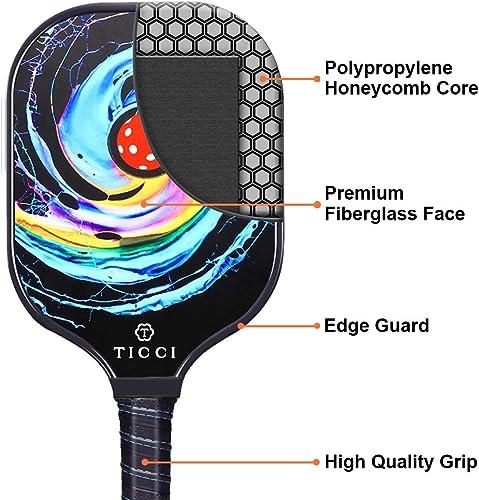 TICCI Pickleball Paddle Set 2 Premium Graphite Craft Rackets Honeycomb Core 4 Balls Ultra Cushion Grip Racquet 1 Carry Bag Accessories Gift Men Women Kids Indoor Outdoor Gorgeous