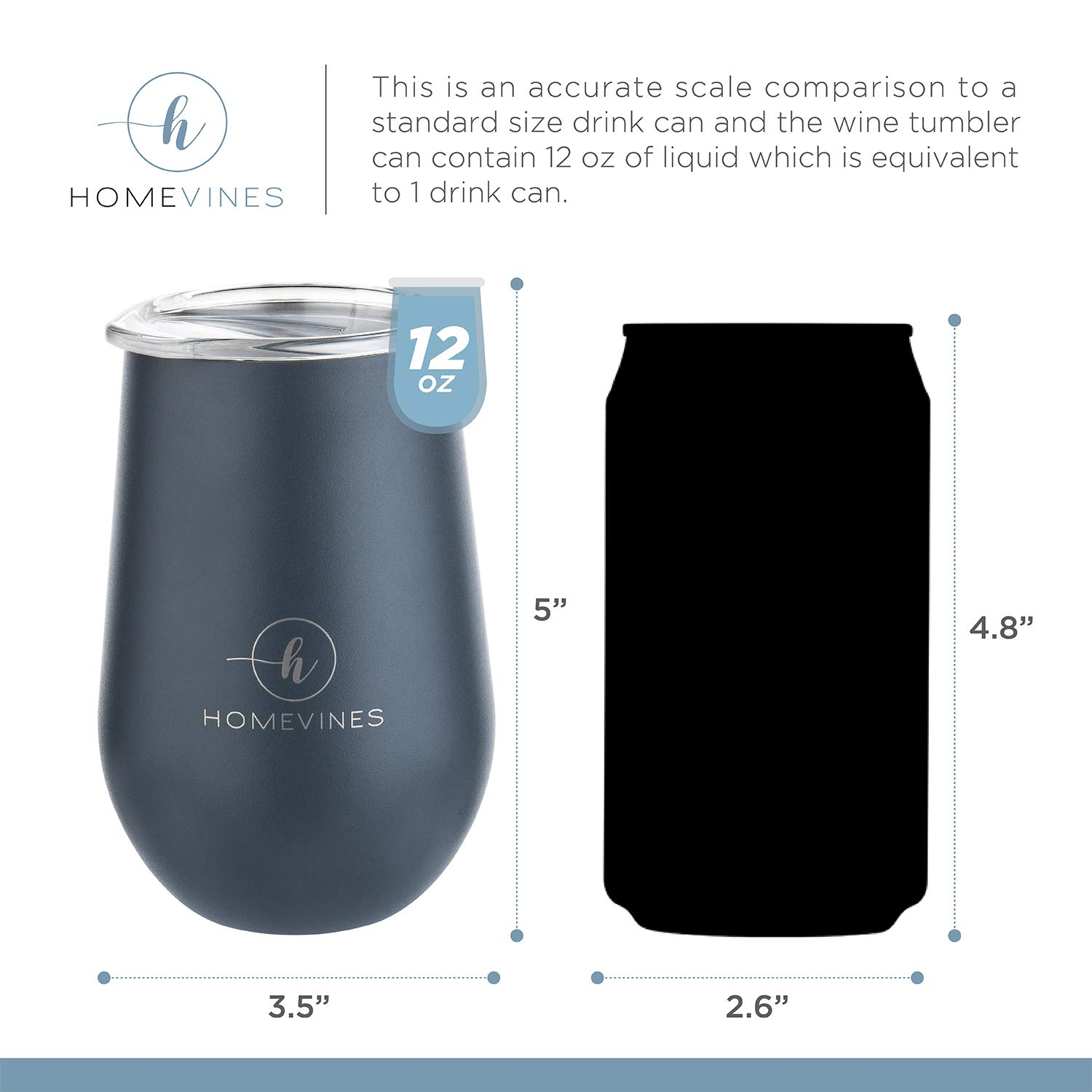 HomeVines Wine Tumbler With Lid - Insulated 12 oz Stainless Steel Wine Tumblers & Portable Stemless Glasses (Travel Adult Cups Perfect For Wine, Coffee, Drinks, Cocktails, Tea) by HomeVines (Image #3)