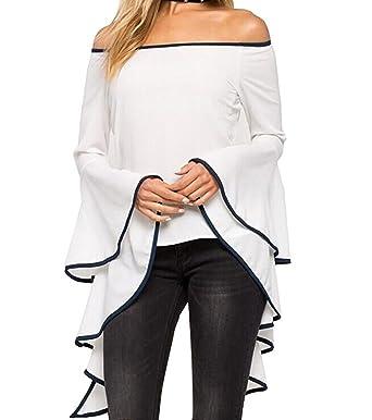 0dd02864032 Tomblin Women Off Shoulder Tops Elegant Flowy Long Flare Bell Sleeve  Flouncing Ruffle Shirts Loose Blouse