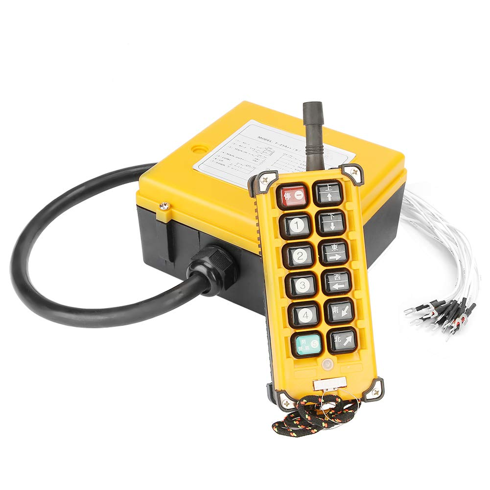 Crane Chain Hoist Push Button Switch Lifting Remote Controller 12 Buttons 1 Transmitters + 1 Receiver by Hilitand