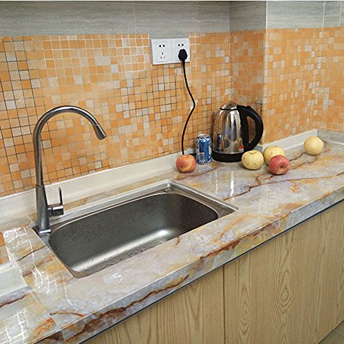 "Chinatera Peel and Stick Tile Kitchen Backsplash Sticker Aluminum Foil Mural Mosaic Wall Paper Waterproof Removable High Temperature Resistant Self-adhesive, 18"" x 79"" (Orange)"