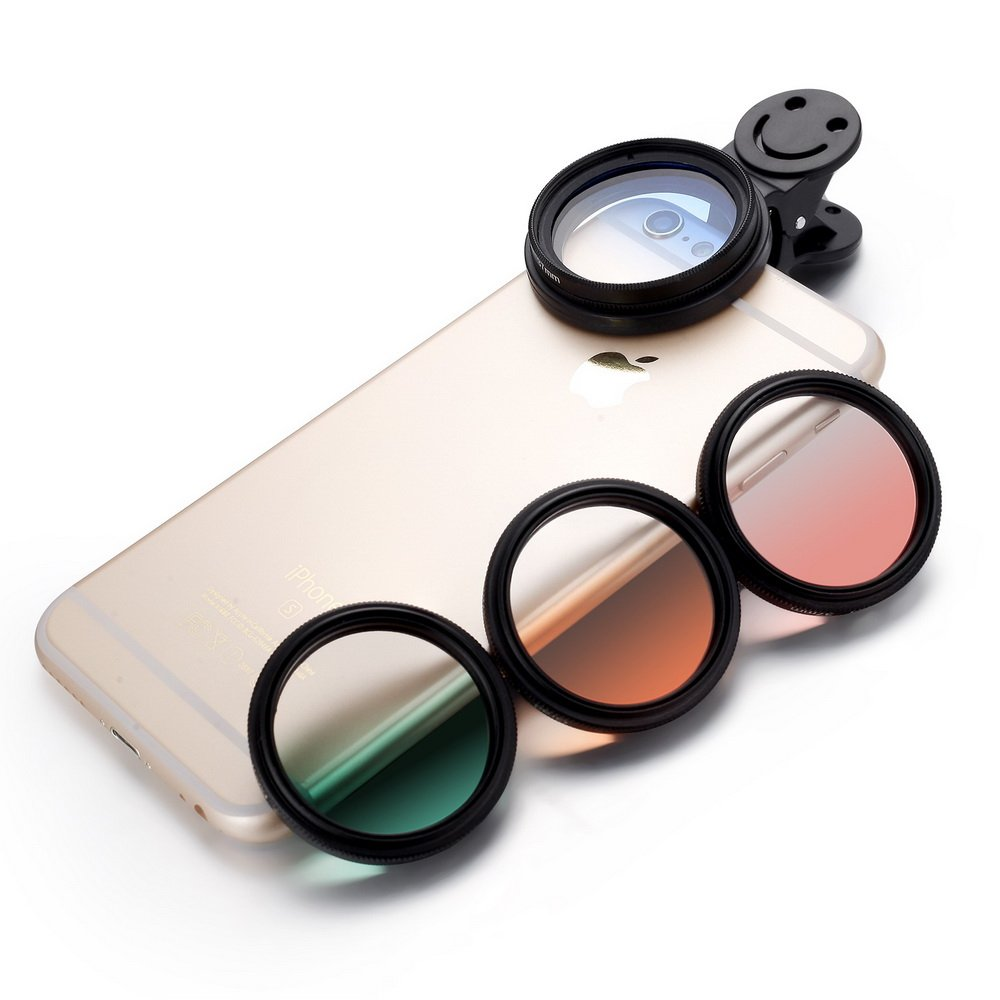 Zuanshiyan Phone Camera Gradual Color Lens X4 Filter Circle Polarize Sheet Transparent Film Mirror Smile Clip For iPhone 6S Plus Samsung Most Smart Phone Peripherals by Zuanshiyan