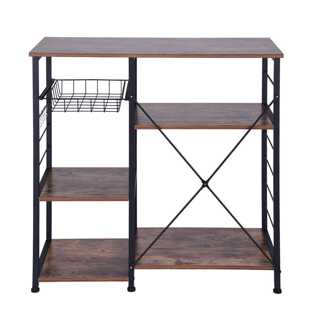 YetouIndustrial Kitchen Baker's Rack Kitchen Island Utility Storage Shelf Microwave Oven Stand Metal Frame Simple Assembly Wood Look