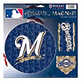 """Milwaukee Brewers M Logo MLB Prismatic 3 Different Die Cut Magnets On Single 11"""" x 11"""" Sheet Magnet"""
