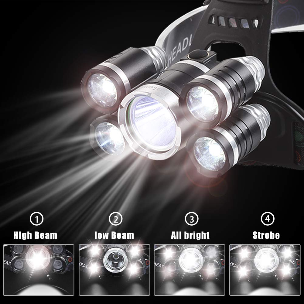 Headlamp 12000 Lumen Ultra Bright CREE LED Work Headlight USB Rechargeable, 4 Modes Waterproof Head Lamp Best Head Lights for Camping Hiking Hunting Outdoors by Alyattes (Image #3)