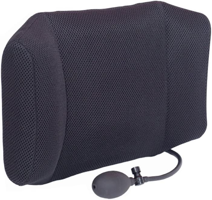 HALOViE Air Inflatable Cushions Back Support for Car Home Office Chair Portable Pillow with Pump Black Removable Mesh Pillow Case 17.7 x11.8x3.9 Inch
