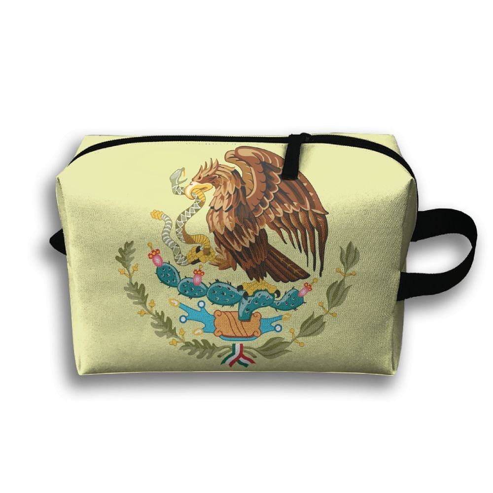 Travel Jewelry Bag Coat Of Arms Of Mexico For Womens Zipper Cosmetics Case