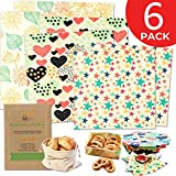 Reusable Beeswax Food Wrap 6 Pack - Plastic Free Alternative to Saran Wrap, Eco-friendly Bee Wax Reusable Wraps - Biodegradable Bowl Covers, Sustainable Sandwich Wrappers - 2 L, 2 M, 2 S