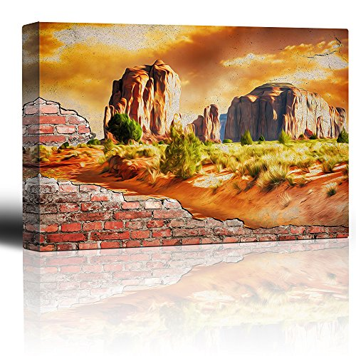 Painted Desert Brick Wall Country Rural Landscape