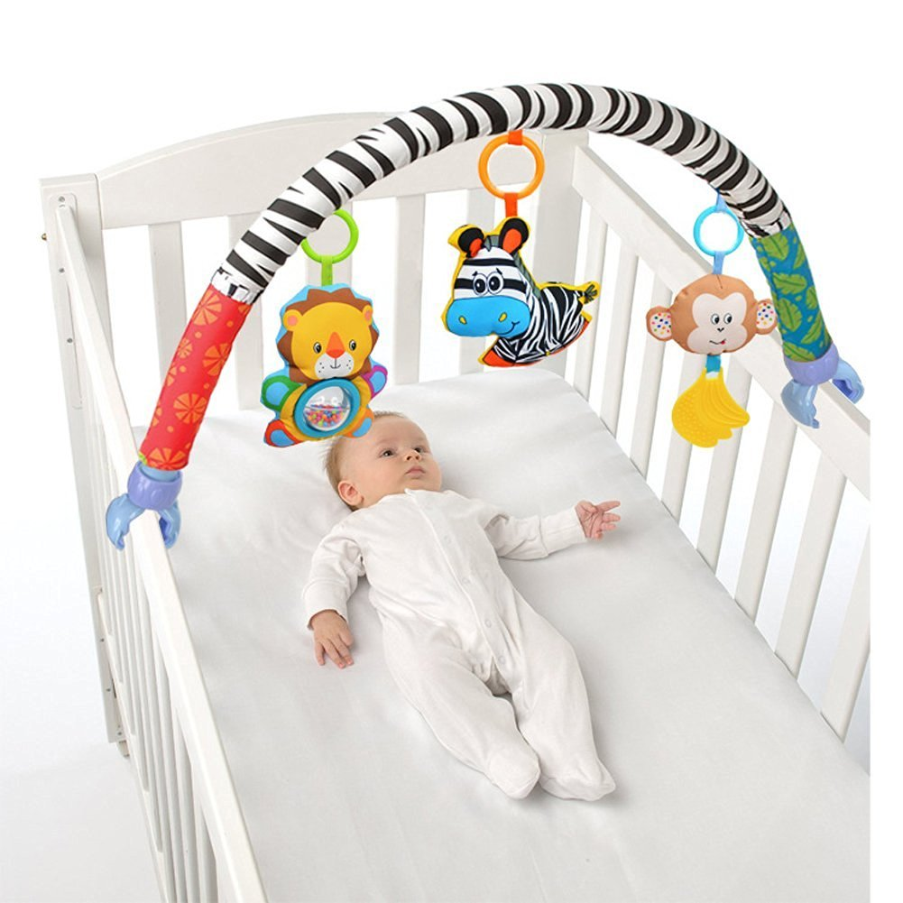 X-star Baby Travel Play Arch Stroller/Crib Accessory, Cloth Animmal Toy and Pram Activity Bar with Rattle/Squeak/Teethers(Stripe) VX-star
