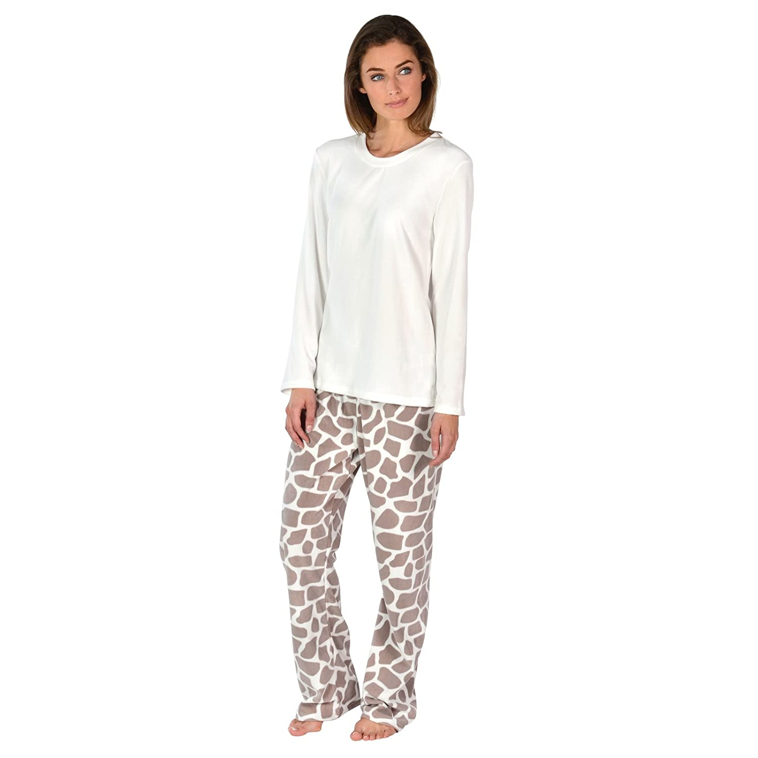 867737d43d Ladies Cosy Soft Fleece Pyjama Gift Set PJS Long Top   Bottoms Womens  Nightwear  Amazon.co.uk  Clothing