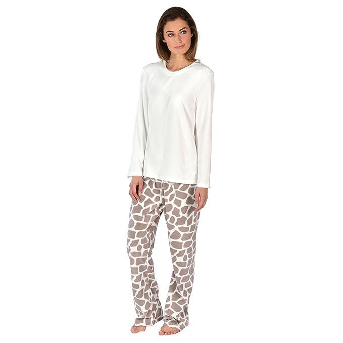 45edfd8466 Ladies Fleece Pyjama Set PJs Top   Bottoms Nightwear - Giraffe XS UK ...