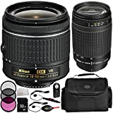 Nikon AF-P DX NIKKOR 18-55mm f/3.5-5.6G VR Lens + Nikon AF Zoom-NIKKOR 70-300mm f/4-5.6G Lens - International Version (No Warranty) + MORE