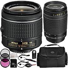 Nikon AF-P DX NIKKOR 18-55mm f/3.5-5.6G VR Lens + Nikon AF Zoom-NIKKOR 70-300mm f/4-5.6G Lens - International Version (No Warranty) + MORE