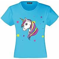 laylawson Unicorn T-Shirt Filles Enfants Licorne T Shirt Tee 3 à 15 Ans