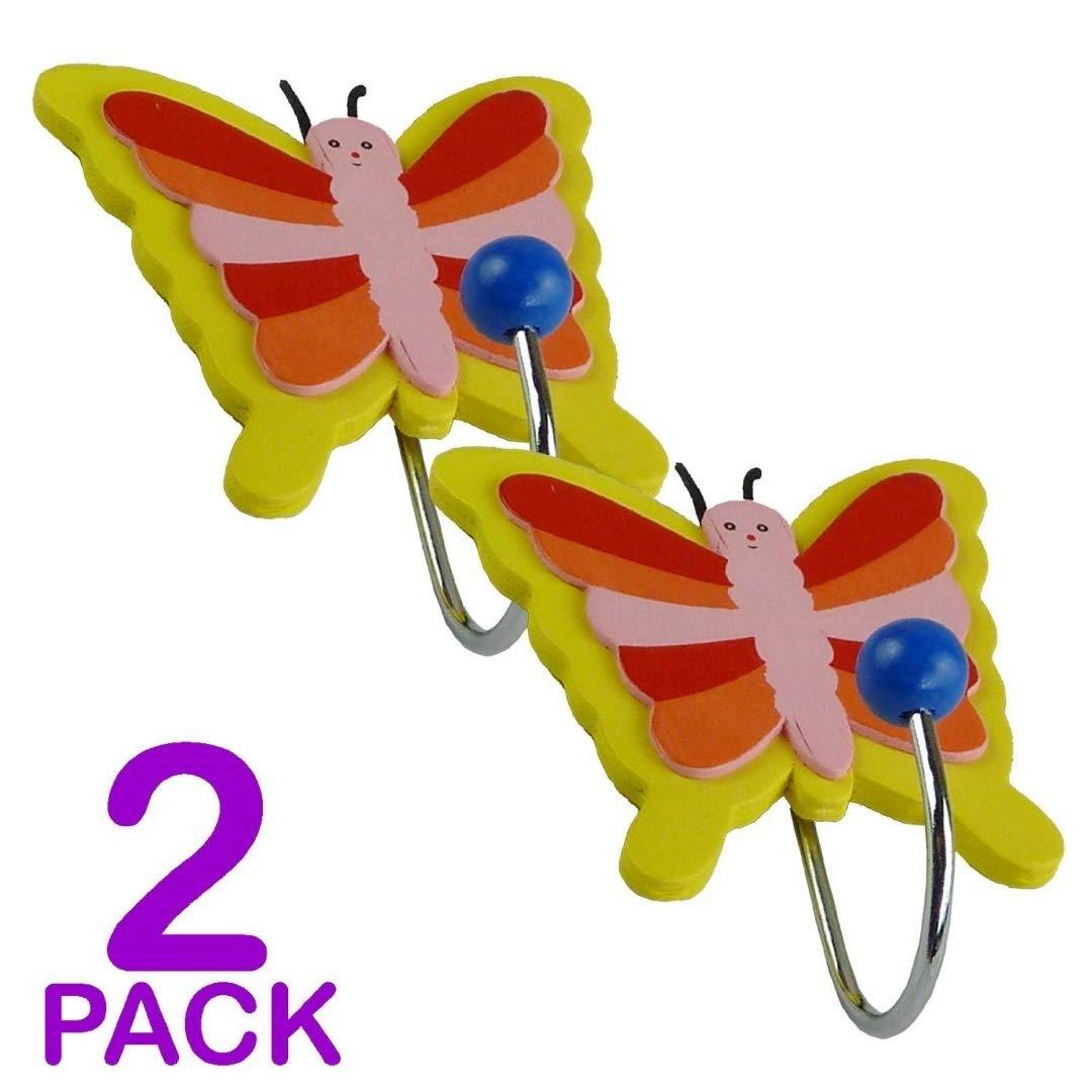 Childrens Butterfly Coat Hooks - Door Wall Hooks (2 Pack) Value 4 Money