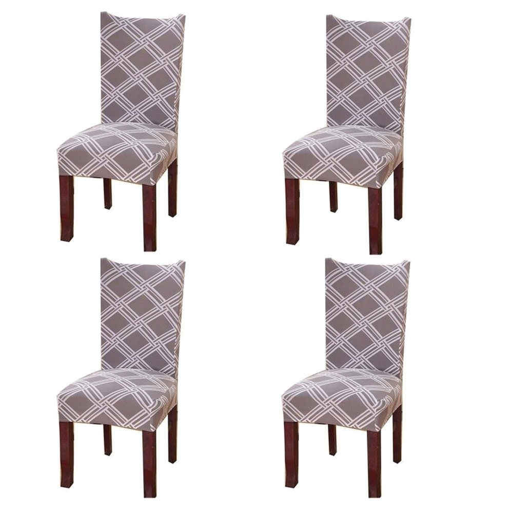 Super Fit Stretch Removable Washable Short Dining Chair Covers Seat Slipcover for Dinning Room (4, A) Degao