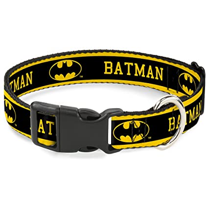 "Buckle-Down ""BATMAN/Logo Stripe"" Plastic Clip Collar, Yellow/"