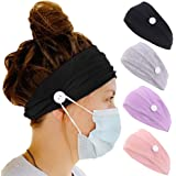 4 Pack Headband with Buttons for Women Ear Protection Holder Elastic Headbands for Nurse Womens Workout Button Head Wrap Spa