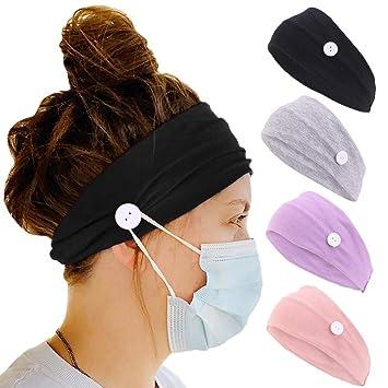 Women Button Headband Elastic Head Wrap Hair Band Yoga Gym Bandana Hairband