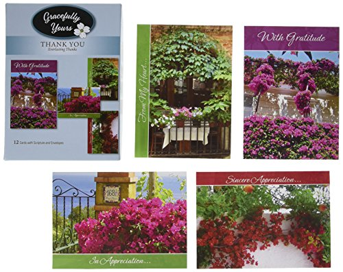 Gracefully Yours Everlasting Thanks - Thank You Greeting Cards Featuring Heather Tocquigny, 12, 4 Designs/3 Each with Scripture Message