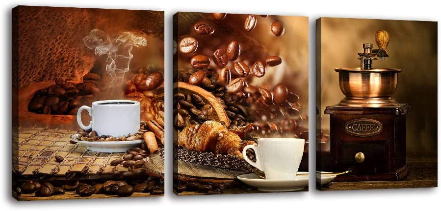 Kitchen Canvas Wall Art for Dining Room - Canvas Prints for Coffee Themed Kitchen Coffee Bean Coffee Cup Coffee Machine Canvas Prints Coffee Wall Decor for Kitchen Dining Room Wall Decorations