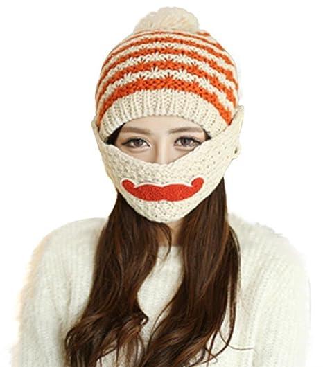 JudyBridal Women Warm Winter Knit Beanie Beard Cap with Mask One Size Beige d92c675e2