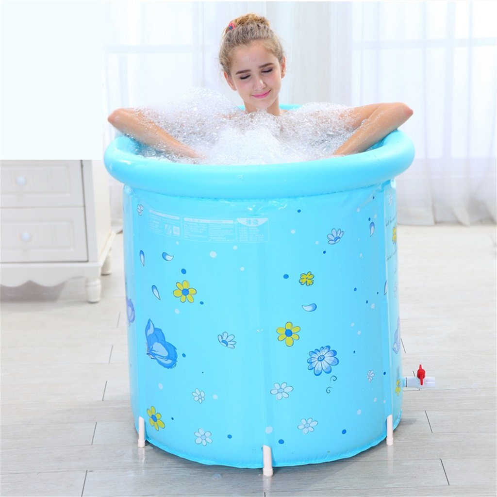 LQQGXL,Bath Inflatable Bathtub Adult Bathtub Foldable Child Take A Bath Bath Tub Plastic Bath Barrels Gift Keep Warm Foldable 80 80cm Blue Inflatable bathtub